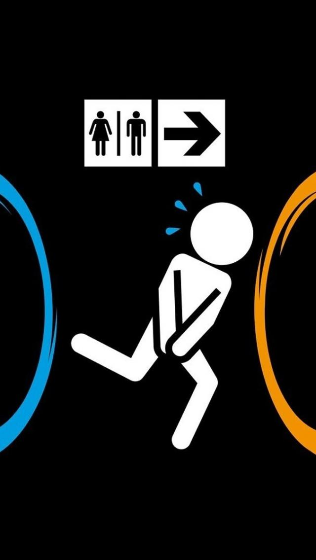 Funny Portal Game Run Bathroom IPhone 5 Wallpaper