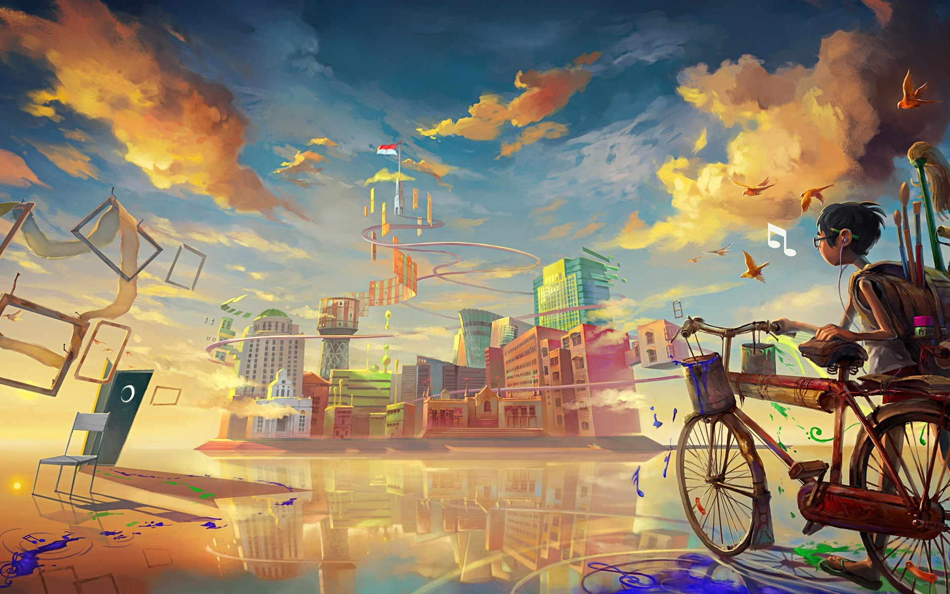 boy-biccycle-city-drawing-paint-art-HD-wallpaper