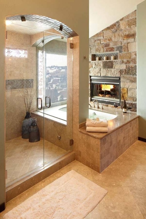 rustic-master-bathroom-with-frameless-shower-walk-in-shower-and-tile-shower