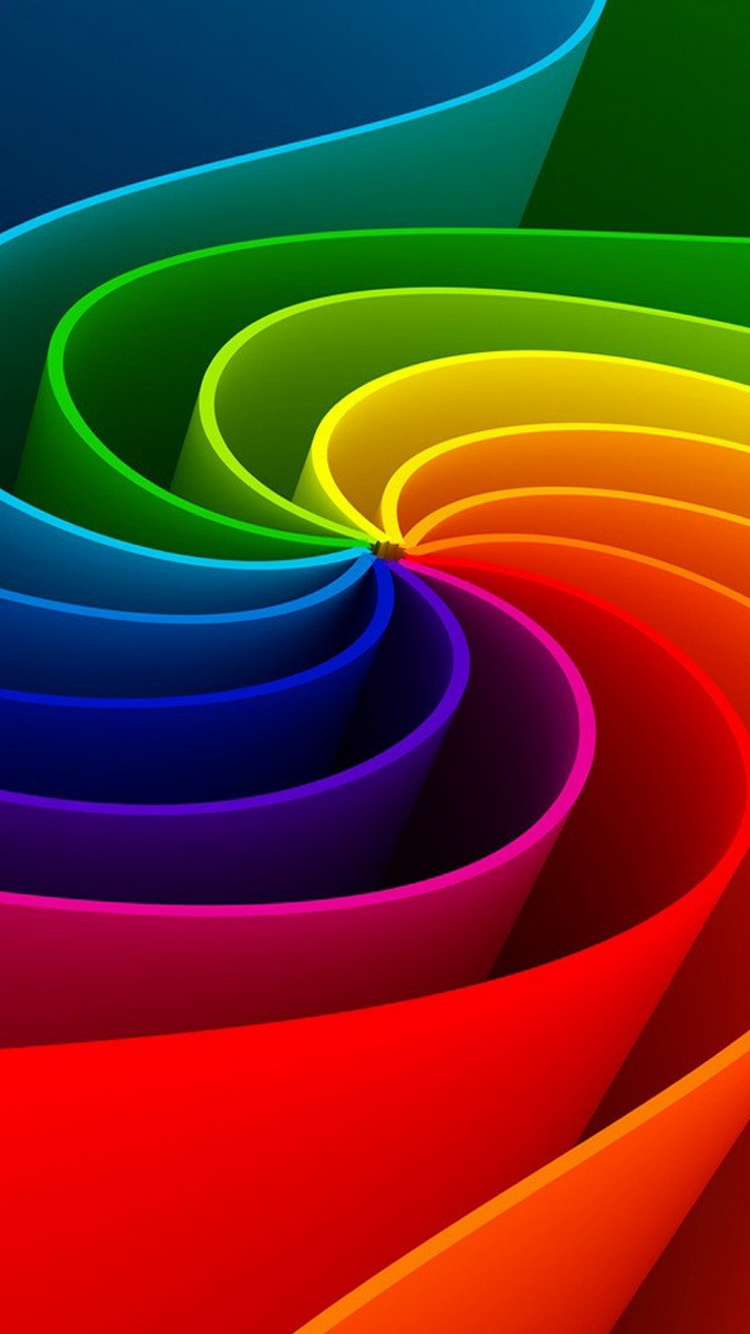 3D Abstract Colorful Rainbow Swirl iPhone 6 Wallpaper