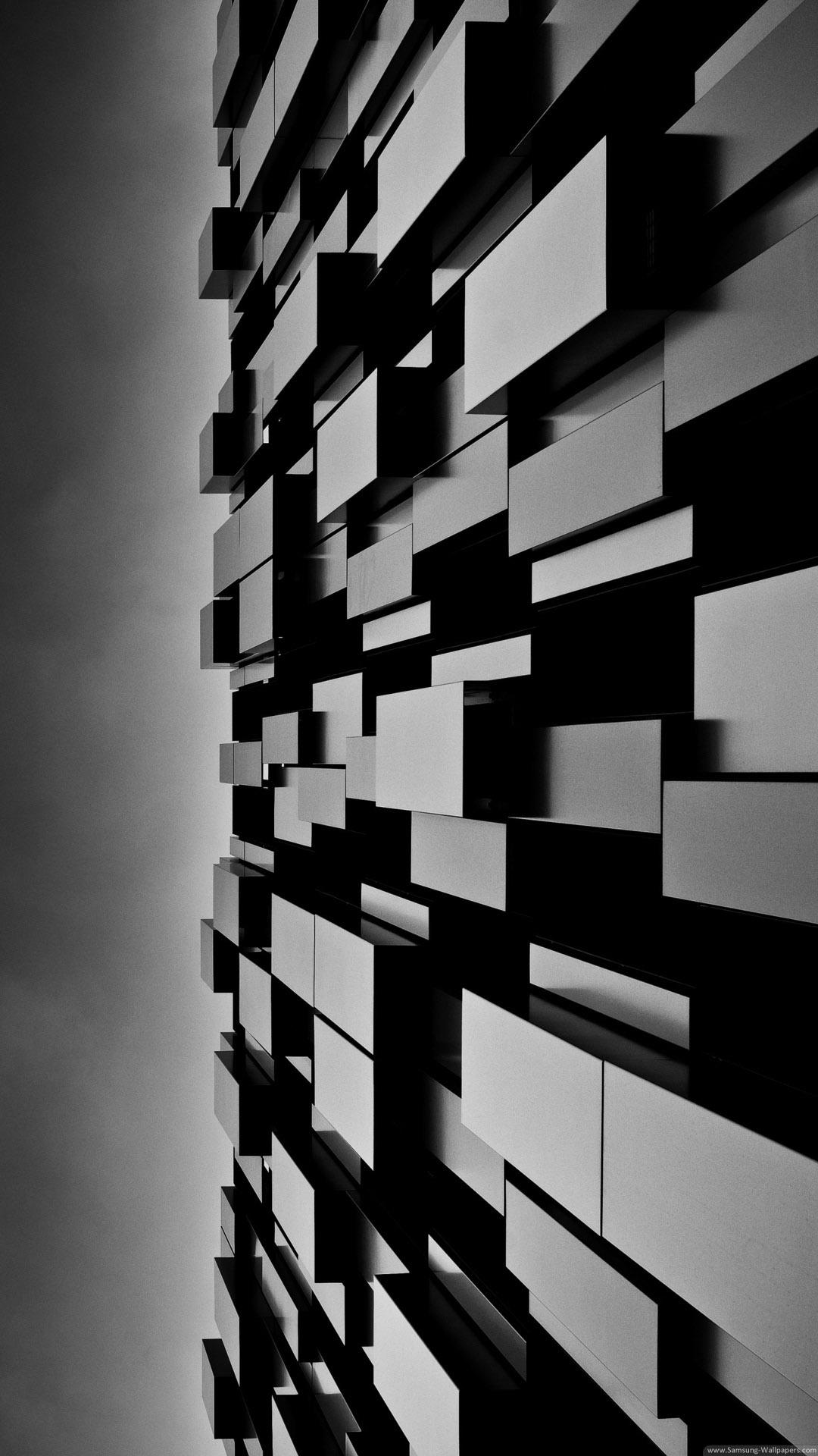 3D Abstract Art Dark Cubes Wall iPhone 6 Plus HD Wallpaper