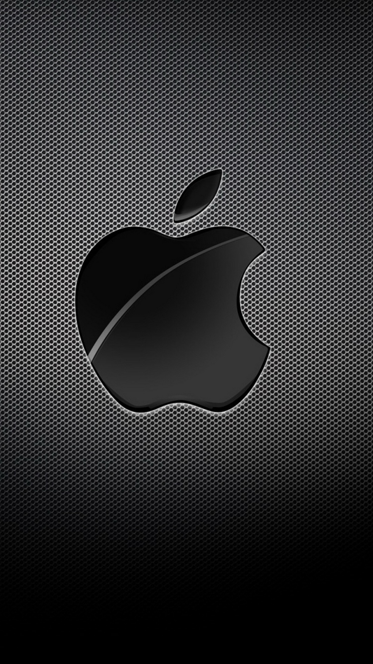 Apple Logo Black Grid Background iPhone 6 Wallpaper
