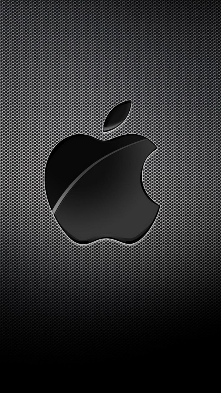Apple Logo Black Grid Background iPhone 6 Wallpaper