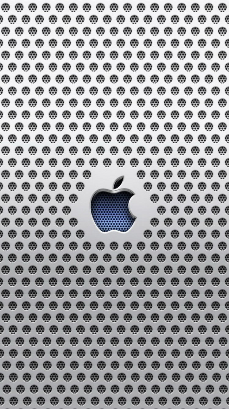 Apple Logo Metal Grid Carving iPhone 6 Wallpaper