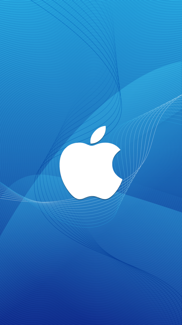 Apple Logo Wireframe Waves iPhone 6 Wallpaper