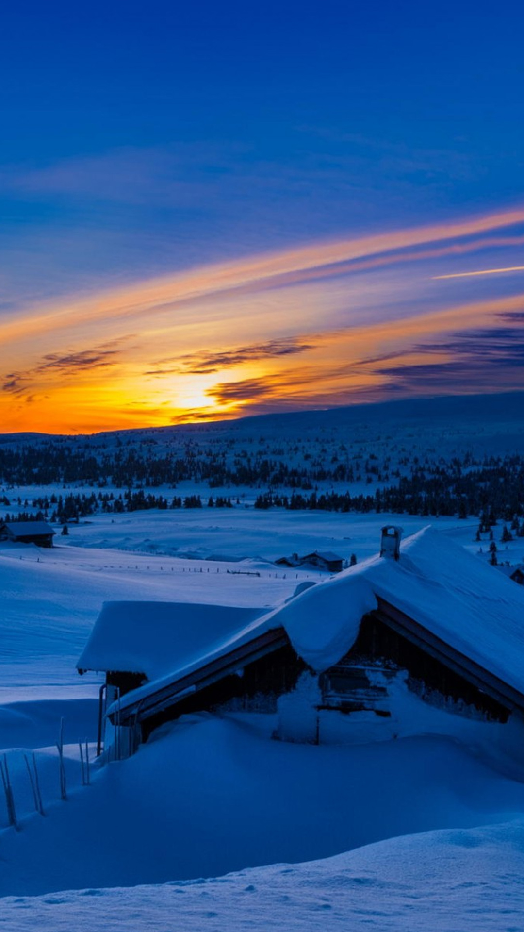 Beautiful Sunset Winter Chalet Snow iPhone 6 Plus HD Wallpaper