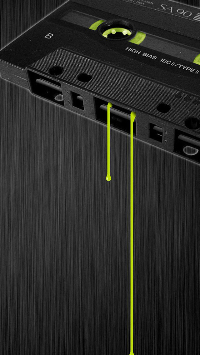 Cassette music dark tape drips iPhone 5s wallpaper