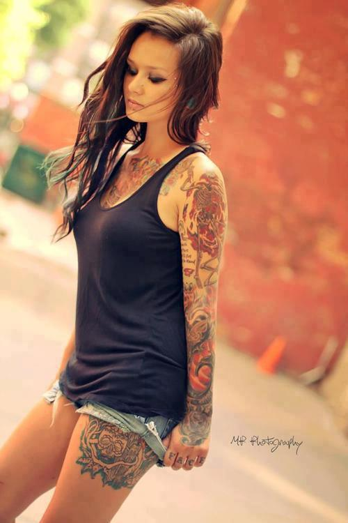 Inked girl, thigh tattoo, sleeve 1