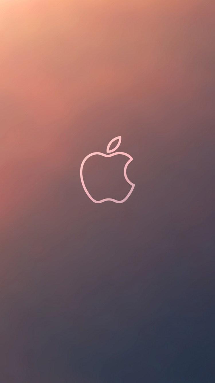 Simple Gradient Apple Logo Outline iPhone 6 Wallpaper