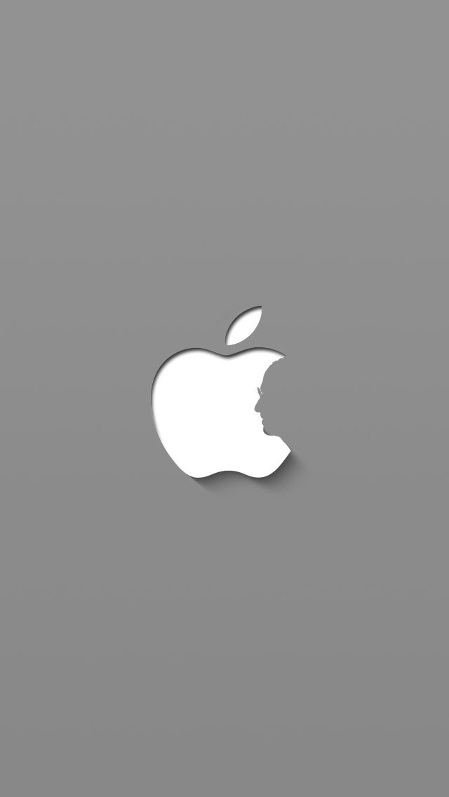 Steve Jobs Apple Logo Gray iPhone 5 Wallpaper